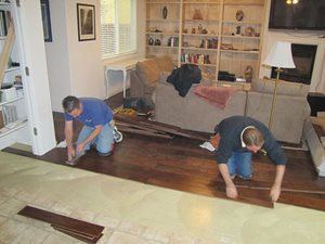 Eric and Rick installing hardwood